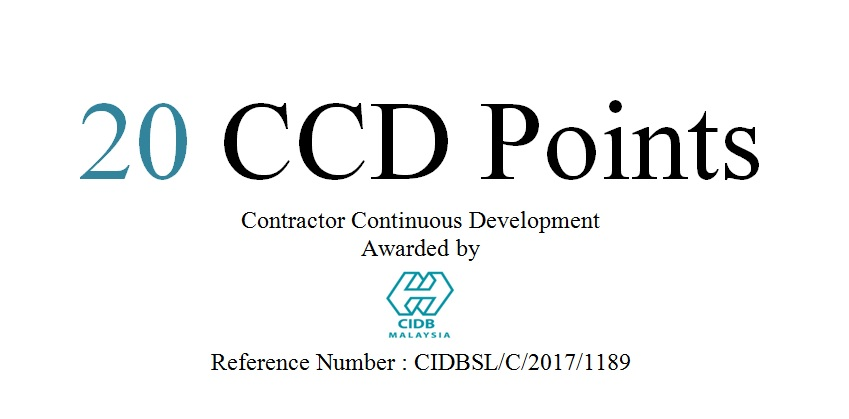 Upcoming Training Courses for CIDB 20CCD Points – July 2018