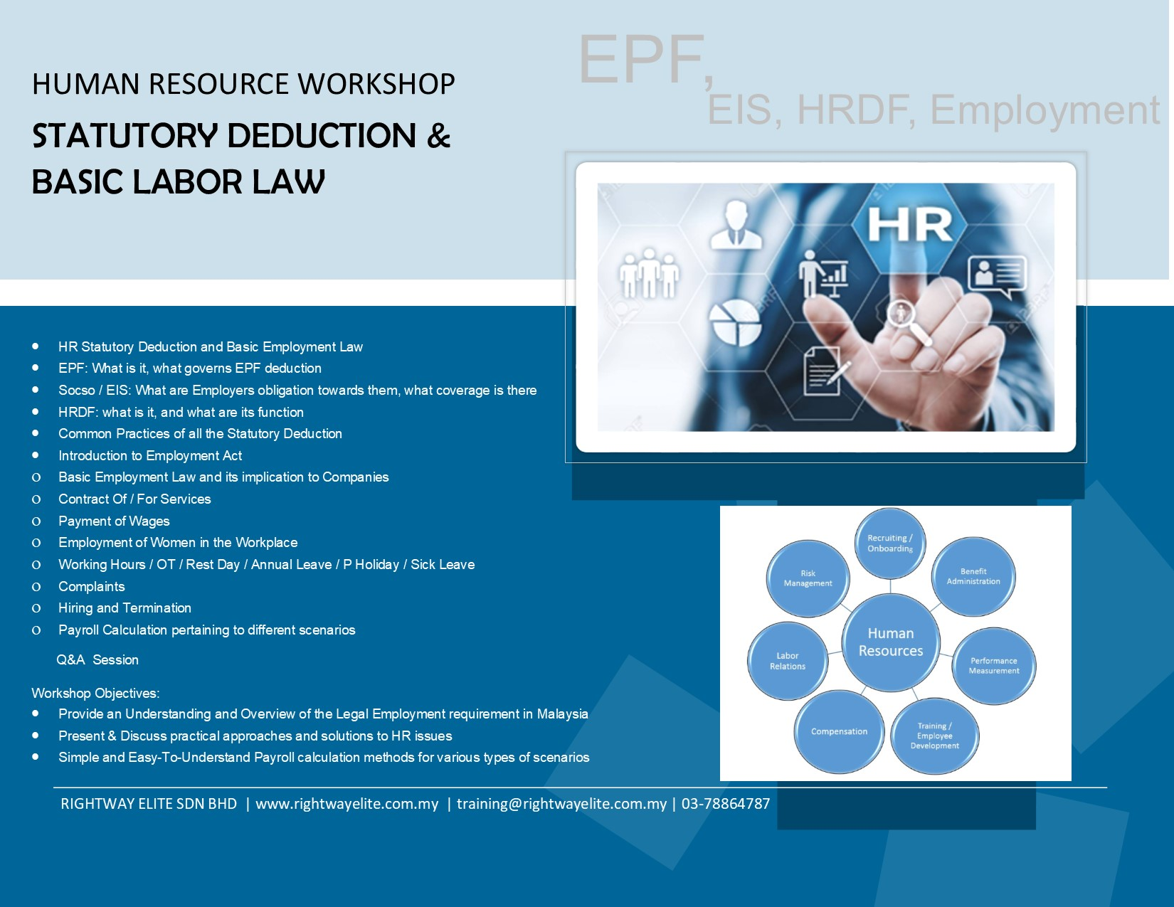 HUMAN RESOURCE WORKSHOP – STATUTORY DEDUCTION & BASIC LABOR LAW